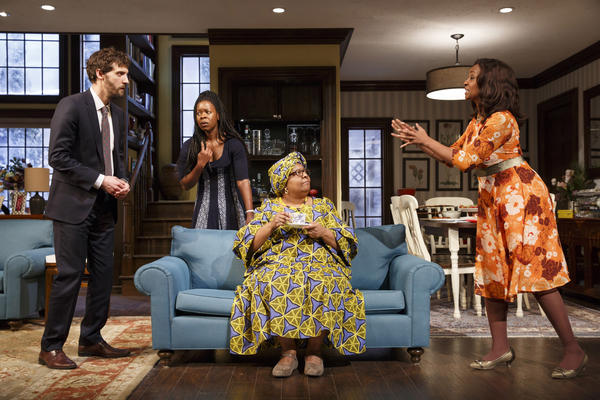Gurira's<em> Familiar</em> takes place in Minnesota, where the eldest daughter of Zimbabwean parents is getting married to a white man. From left, Joby Earle, Roslyn Ruff, Myra Lucretia Taylor and Melanie Nicholls-King.