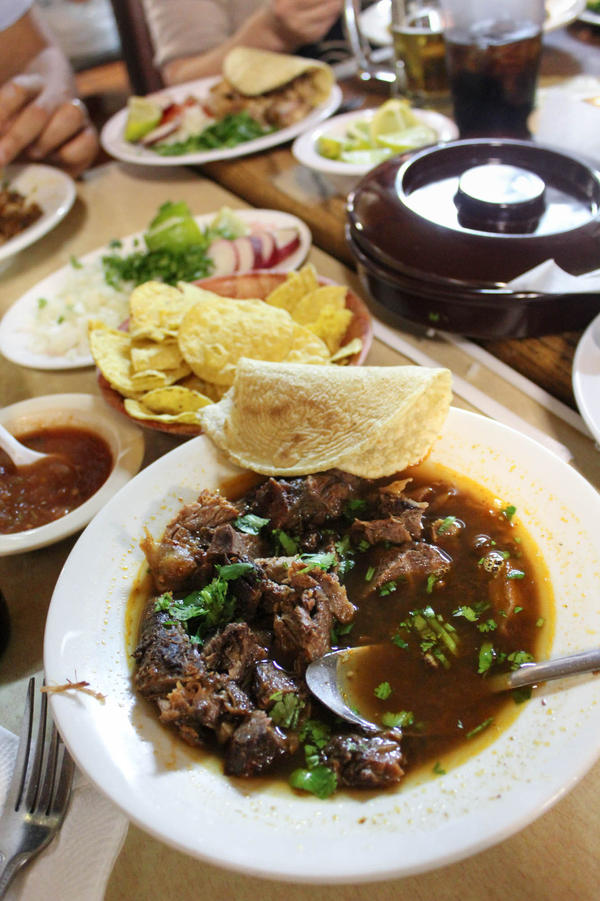 Gold says the <em>birria</em> — goat stew — at El Parian is their best dish.