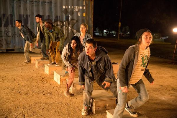 Shelter actors (left to right) Emilio Garcia Sanchez, Peter Mark, Jonathan Bangs, Cynthia Callejas, Jazmen-Bleu Gutierrez, Andres Velez and Moriah Martel.