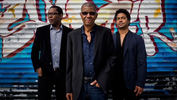 Jack DeJohnette (center) is pictured with Ravi Coltrane and Matt Garrison, who join him on the new album <em>In Movement</em>.