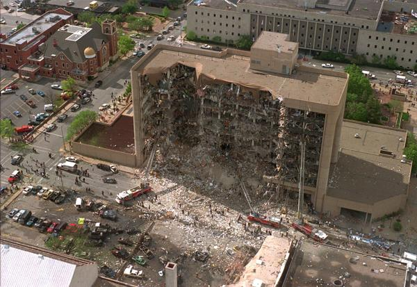 The north side of the Alfred P. Murrah Federal Building in Oklahoma City is missing after a truck bomb exploded on April 19, 1995.
