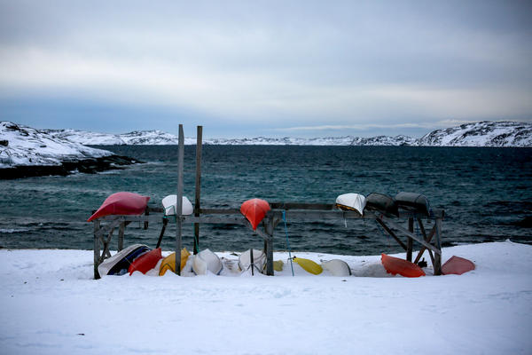 Kayaks frame a bay at the south end of Nuuk.