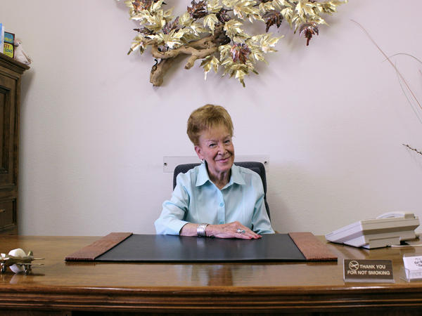 Nancy Kidwell sits in her office in the back of the Cal-Nev-Ari Casino. She and her late husband Slim pioneered this rural Nevada town 51 years ago.