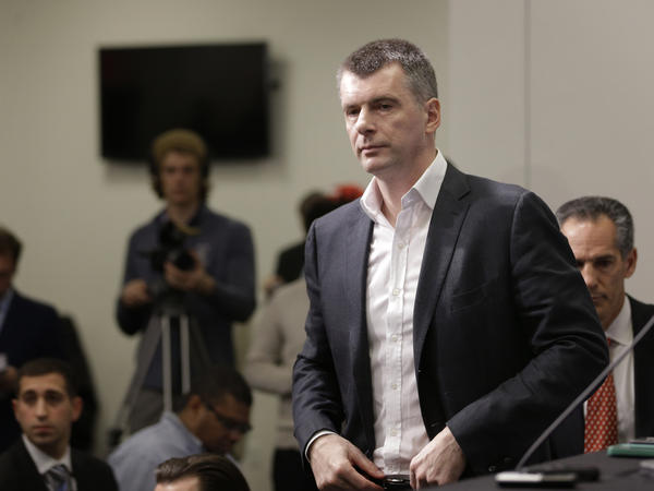 An independent paper owned by billionaire Russian businessman and Brooklyn Nets owner Mikhail Prokhorov — shown here Jan. 11 in New York — is under fire, but the Kremlin says it's not applying pressure on media.
