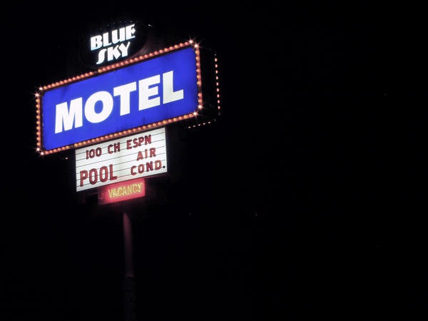 """Nobody ever thought we'd make it,"" Nancy Kidwell says. ""They used to say, 'Oh, Slim [Kidwell] and his blue sky dreams.' That's why I named the motel ""Blue Sky."""
