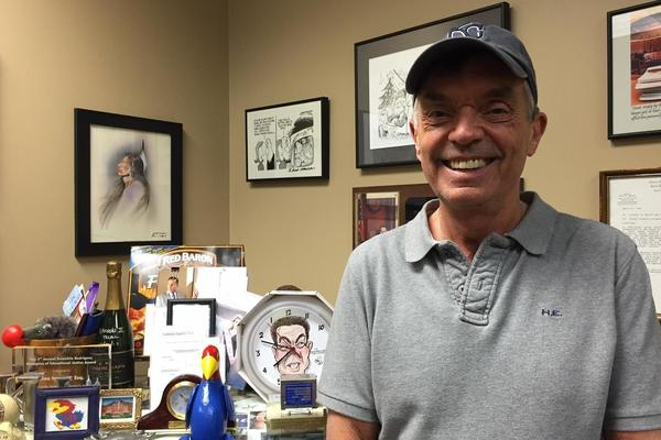 Wichita lawyer Alan Rupe in his office. He's been suing Kansas over school funding since 1989.