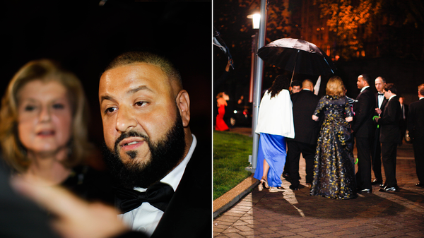 DJ Khaled and Arianna Huffington chatting with fans (L) and leaving the 102nd White House Correspondents' Association Dinner (R) on Saturday.