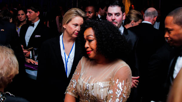 Shonda Rhimes speaking with Former Secretary of State Madeleine Albright while surrounded by on-looking guests at the ABC/Yahoo party before the 102nd White House Correspondents' Dinner on Saturday in Washington D.C.