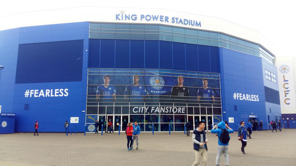 Fans gather at the home stadium of the Leicester City Football Club.