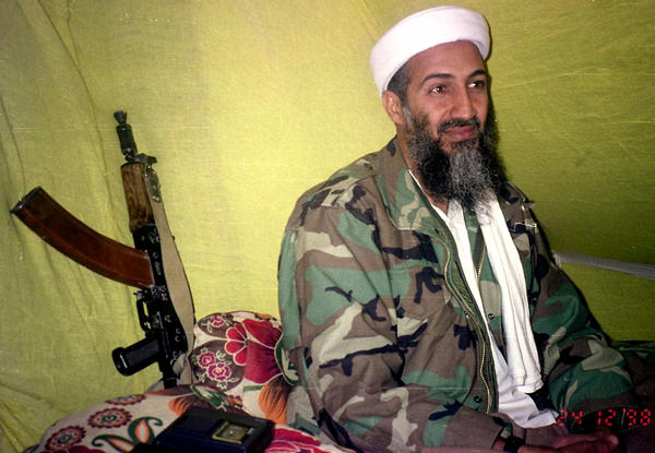 Al-Qaida leader Osama bin Laden speaks to a selected group of reporters in the mountains of Helmand province in southern Afghanistan in 1998. It has been five years since he was killed in a U.S. raid in Pakistan.