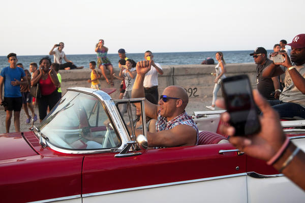 Actor Vin Diesel drives a vintage American car next to actress Michelle Rodriguez while shooting the latest installment of the <em>Fast and Furious</em> movie franchise in Havana, Cuba on April 28. <em>Fast and Furious 8</em> is the second U.S. movie, and the first big-budget Hollywood film, to be shot in Havana since relations began improving between the two countries.