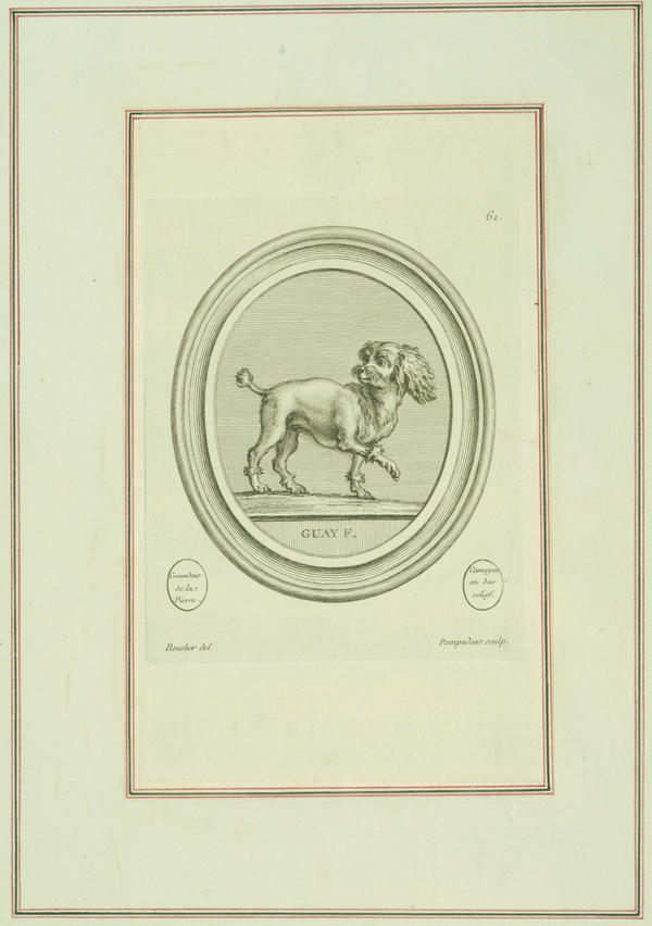 In this etching, circa 1758, Pompadour captures her pet spaniel, mid-trot.