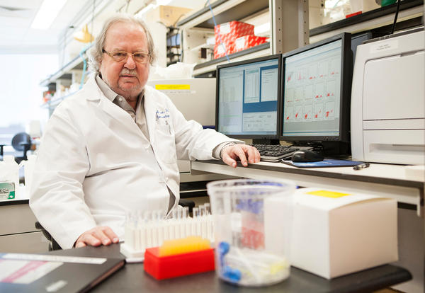 Jim Allison in his lab at the University of Texas MD Anderson Cancer Center in Houston.