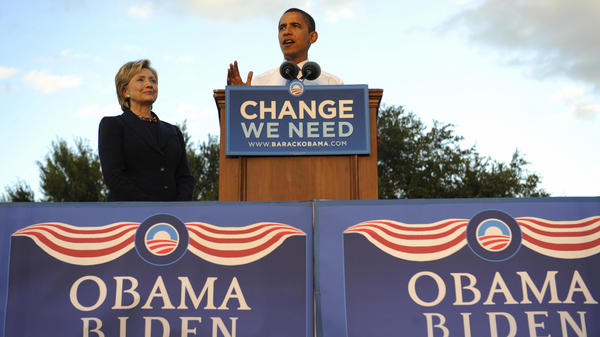 Obama and Clinton, both U.S. senators at the time, address supporters during a rally in Orlando, Fla., on Oct. 20, 2008.
