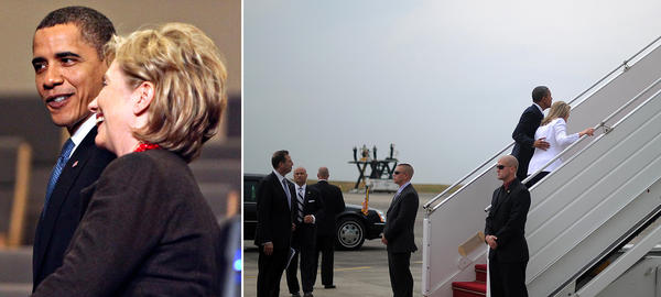 (Left) Obama and Clinton, then secretary of state, walk through a press conference room at the United Nations Climate Change Conference in Copenhagen, Denmark, on Dec. 18, 2009. (Right) Obama and Clinton board Air Force One at the airport in Yangon, Myanmar, on Nov. 19, 2012.