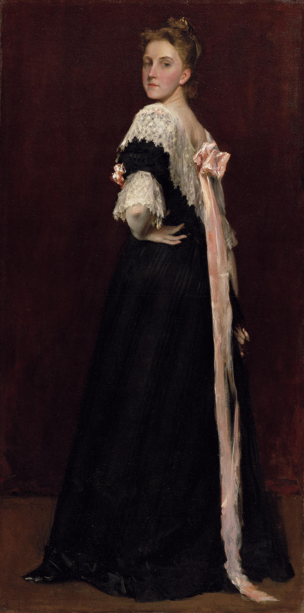 American artist Lydia Field Emmet was one of Chase's students. This painting, which Chase made in 1892, shows her in a pose more often seen in portraits of men.
