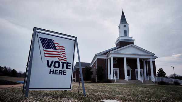 Residents vote in the South Carolina Republican presidential primary election at the Cross Roads Baptist Church in Greer, S.C., on Feb. 20.