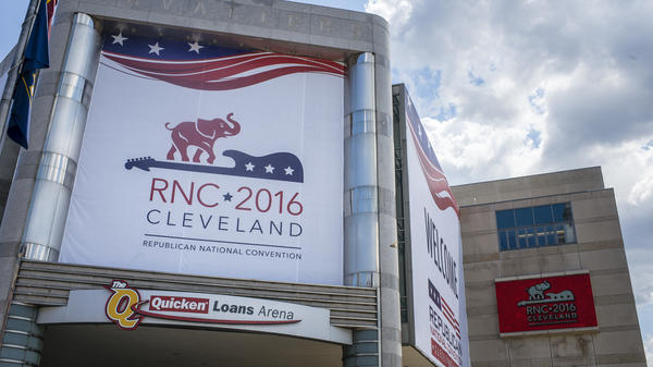 The Quicken Loans Arena is decorated to welcome the Republican National Convention in Cleveland.