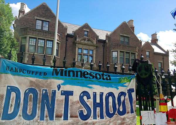 "Protesters camped out in front of the Minnesota Governor's Residence, calling for more ""judgment"" by police officers. Many say officers are too quick to shoot people whom they perceive as threats."