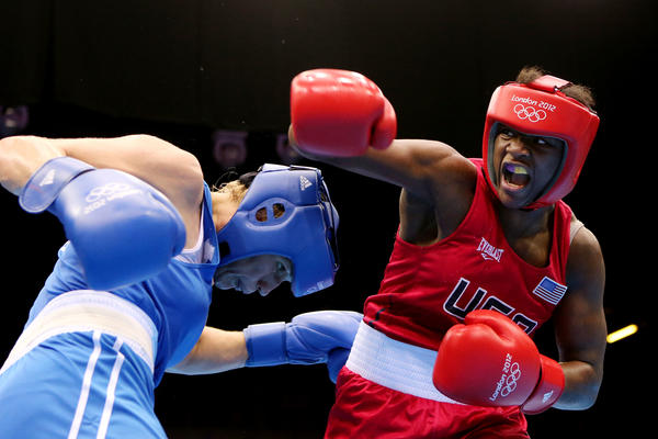 Claressa (right) exchanges punches with Nadezda Torlopova of Russia during the Women's Middle Boxing final bout during the London 2012 Olympic Games.