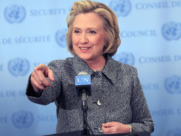 Hillary Clinton holds a press conference regarding her U.N. Woman's Day speech and the email server controversy at the United Nations on March 10, 2015, in New York City.