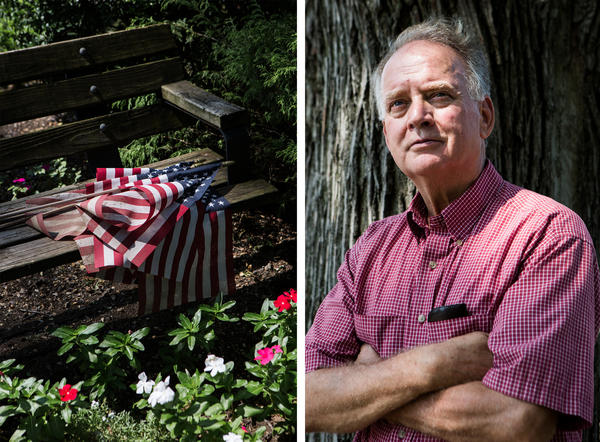 Russell Mercer donates old U.S. flags from Sept. 11 memorials to a post of Veterans of Foreign Wars. He is still waiting to recover remains of his stepson, who was one of the New York City firefighters killed at the World Trade Center.