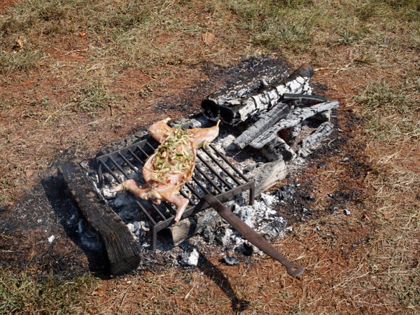 Twitty grills the peppered rabbit over an open fire.