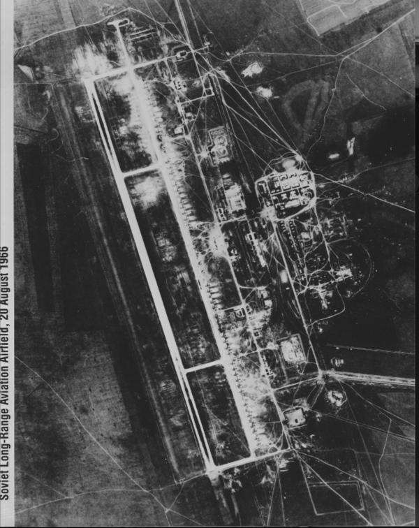 This CORONA spy photo from Aug. 20, 1966, shows Dolon airfield in Semipalatinsk, Kazakhstan — a major Soviet bomber base.