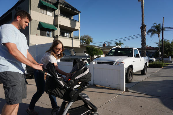 The Fugates still make time to stroll their San Diego neighborhood together. In a survey of California companies, more than 90 percent of businesses reported a neutral or positive impact on their companies after the 2002 California family leave law was enacted.