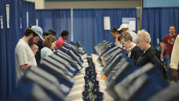 Chicago residents cast early ballots on Tuesday for the Nov. 8 election.