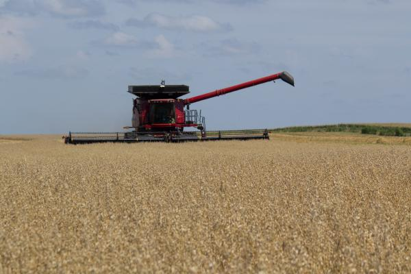 Iowa farmer Paul Heineman harvests a field of oats, marking the first time his family has planted oats in decades.