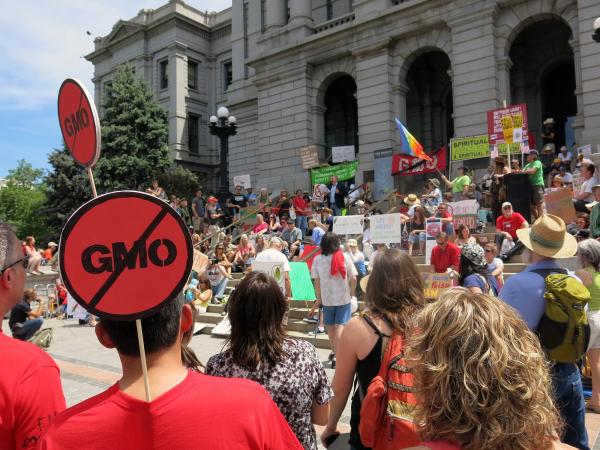 Protestors object to the presence of genetically modified organisms in food at a rally in Denver, Colo.
