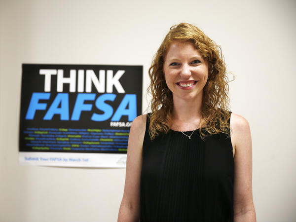 Margaret Feldman, director of college advising with the Scholarship Fund of Alexandria in Virginia, is based at T.C. Williams High School and helps students complete the FAFSA.