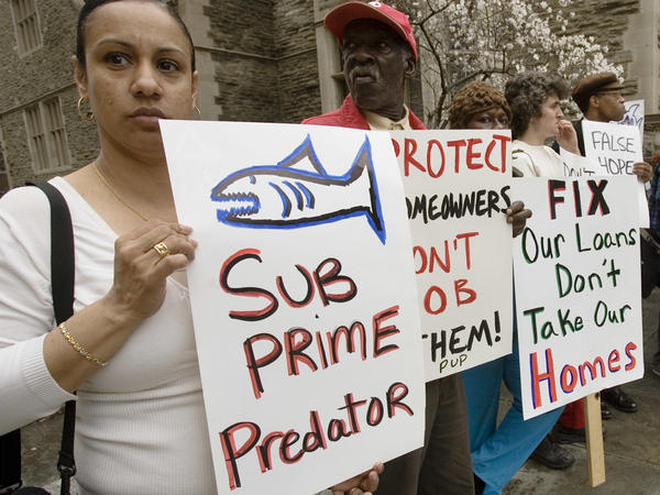 Demonstrators in Philadelphia in 2008 try to draw attention to the subprime mortgage crisis. Philadelphia is one of the cities backing Miami's efforts to sue Wells Fargo and Bank of America.