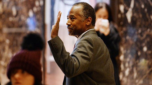 Retired neurosurgeon Ben Carson arrives at Trump Tower last month. The Trump transition office announced early Monday Carson will be nominated to be HUD secretary.