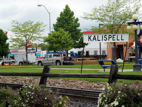 A sign near an old railroad station is shown in Kalispell, Mont., in 2011. In rural northwest Montana, controversy erupted in 2010 when a white supremacist group calling itself Kalispell Pioneer Little Europe began screening Holocaust denial films at the library in Kalispell.