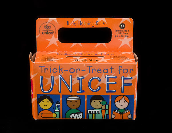 A UNICEF Halloween collection box, late 1990s. Amid concerns about world affairs after World War II, Americans were encouraged to donate to international relief. Philanthropy became the human face of global American influence and organizations and foundations frequently funded projects led by the United Nations.