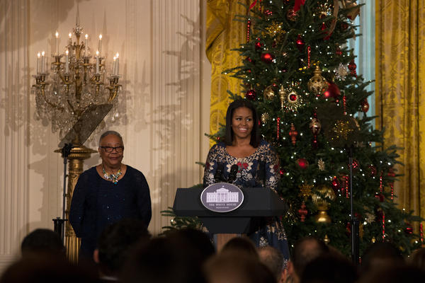 First Lady Michelle Obama welcomes military families to the White House to view the 2016 holiday decorations.