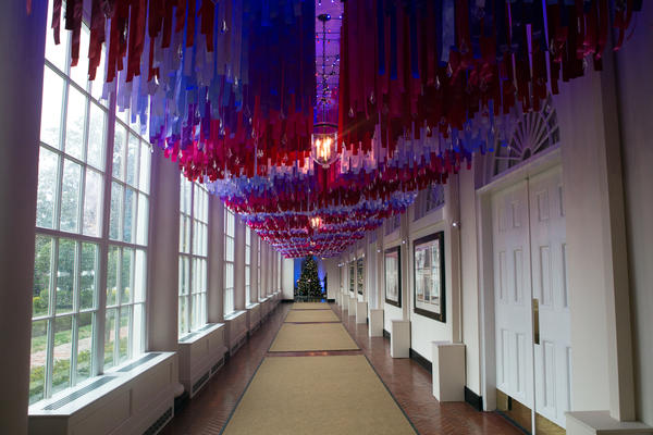 More than 7,500 strands of colorful ribbon with crystal ornaments line the East Colonnade.