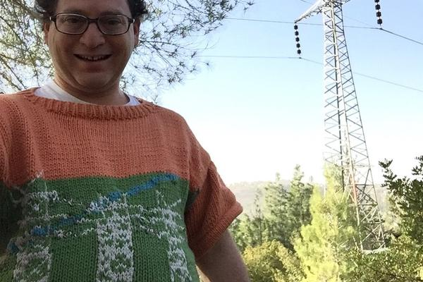 "Barksy explains his inspiration: ""Pretty much anything that crosses my eyes is a potential sweater, and the pylons are no exception."""
