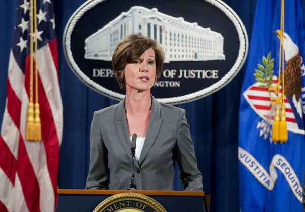 Deputy Attorney General Sally Yates, shown in 2016, has been fired for saying Department of Justice lawyers would not defend President Trump's executive order restricting refugees and visa holders from entering the U.S.