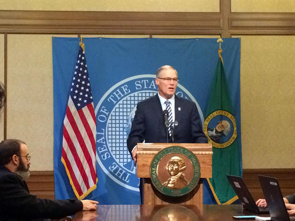 File photo of Washington Gov. Jay Inslee at a press conference on January 26, 2017.