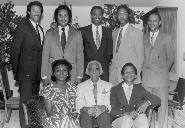 A 1980s family photo. Seated, from left: Mrs. Robbie Bronner, Nathaniel H. Bronner Sr. and James Bronner, the youngest son who now serves as Show Director.  Standing, from left: Nathaniel Jr., Bernard, Darrow (deceased), Dale and Charles.