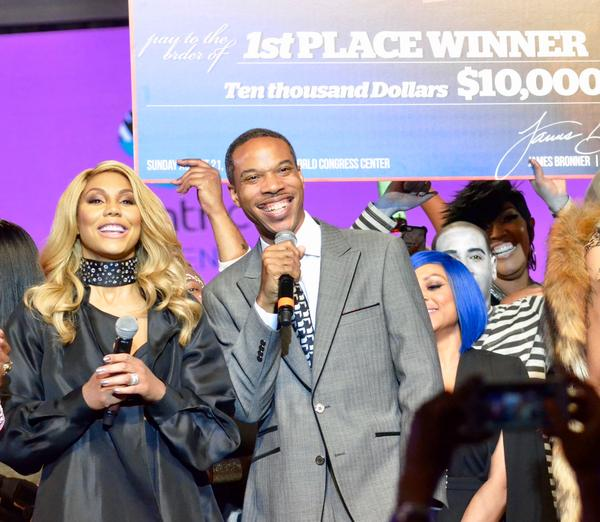 James Bronner and R&B star Tamar Braxton present the 2016 Hair Battle winner with a $10,000 prize.