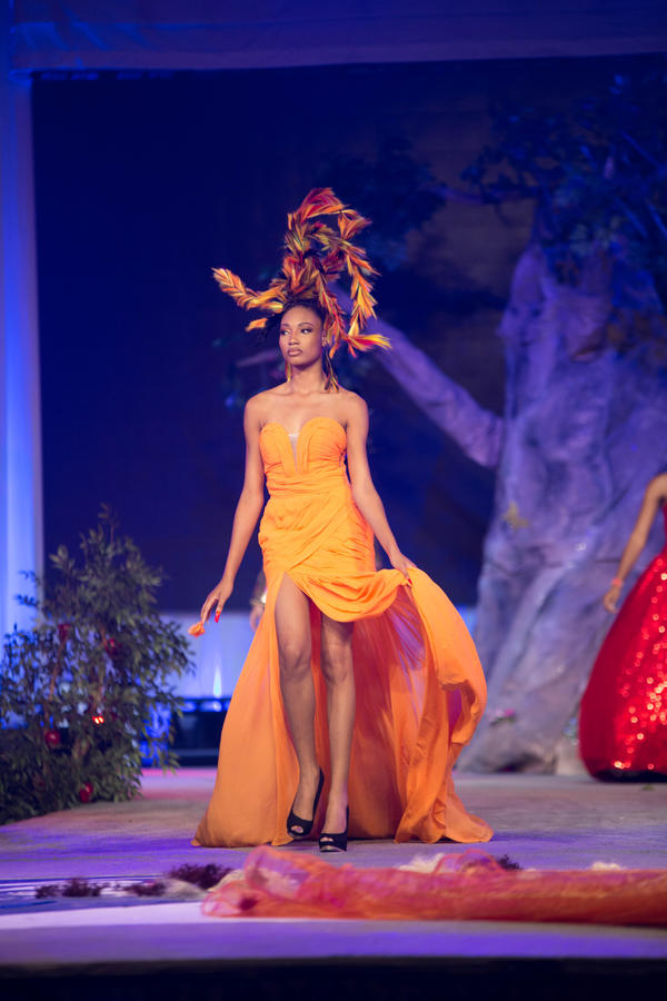 Judges score the look based on technique and creativity. A model shows hair designed to mimic leaves in autumn, in one of several over-the-top cuts.