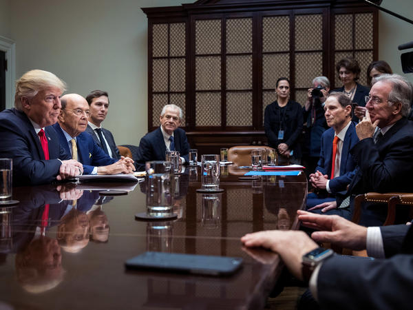 President Trump meets with advisors and Senate and House legislators at the White House on Feb. 2.