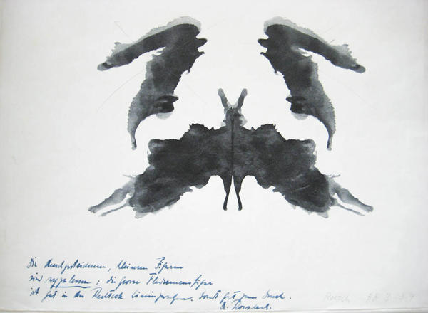 Rorschach's notes on a printer's proof of his inkblot test.