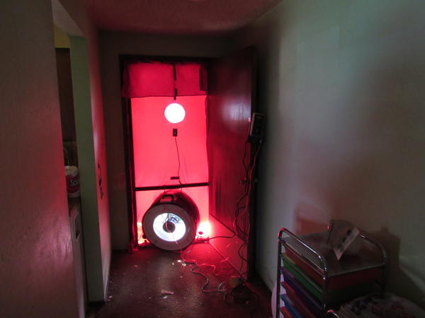 "The ""blower door"" set up Dan Cunningham uses to reveal hidden air leaks in a house."