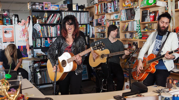Ninet Tayeb performs perform a Tiny Desk Concert on Feb. 14, 2017. (Marian Carrasquero/NPR)