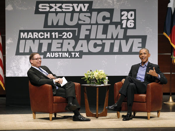 Former President Barack Obama attends South by Southwest Interactive for a conversation with Evan Smith, Editor-in-Chief and CEO of the Texas Tribune news service.